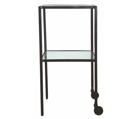 Housedoctor Trolley aus Metall/Glas, schwarz, 40x40x80cm