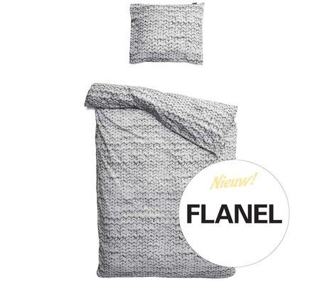 Snurk Beddengoed Linen Twirre, flannel, grå, fås i 3 størrelser