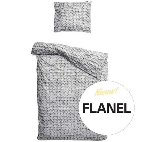 Snurk Beddengoed Linge Twirre, flanelle, gris, disponible en 3 tailles