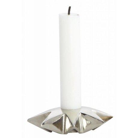 Housedoctor Kerzenständer 'Star' aus Aluminium, silber, Ø9.5xh2.5 cm