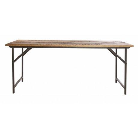 """Housedoctor Mesa de comedor """"partido"""" en metal / madera, gris / marrón, 180x80x74 cm"""