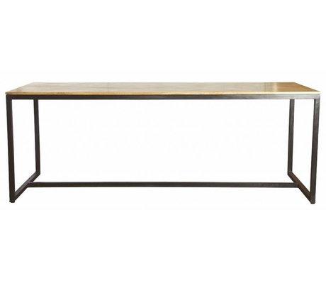 """Housedoctor Mesa de comedor """"forma"""" de hierro / madera, negro / marrón, 200x80x74cm"""