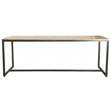 Housedoctor Table à manger «forme» de fer / bois, noir / marron, 200x80x74cm