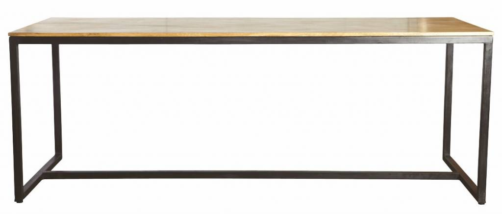 housedoctor table manger forme de fer bois noir marron 200x80x74cm. Black Bedroom Furniture Sets. Home Design Ideas
