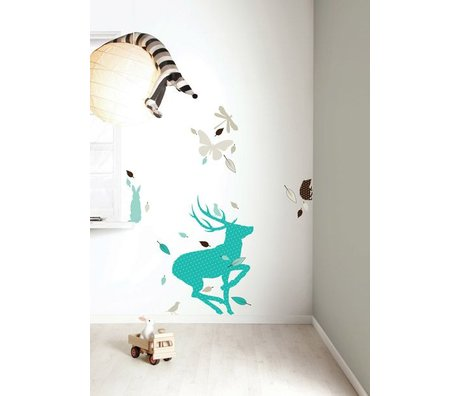 Kek Amsterdam Wall Sticker Set 'Deer XL BOYS' vinyl, blue / brown