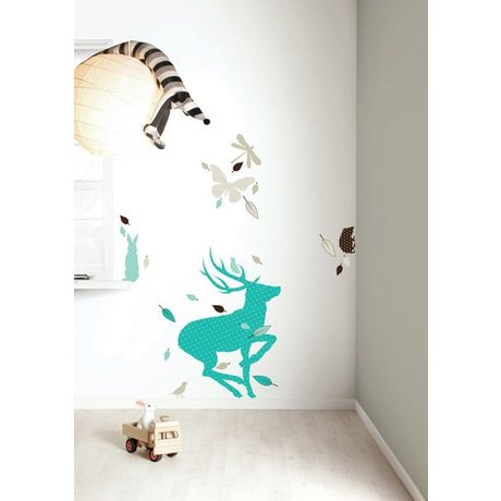 Kek Amsterdam Wandsticker Set 'Deer XL BOYS' aus Vinyl, blau/braun