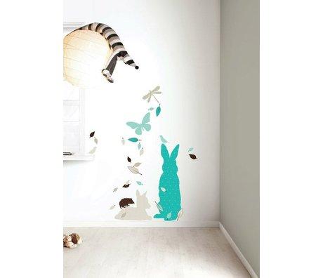 Kek Amsterdam Duvar Sticker Set 'Tavşan XL ERKEK vinil, mavi / kahverengi