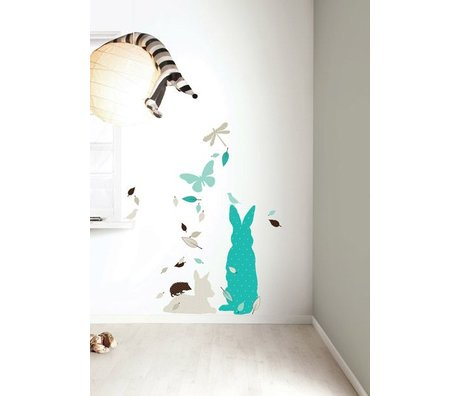 Kek Amsterdam Wall Sticker Set 'Rabbit XL BOYS' vinyl, blue / brown
