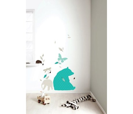 Kek Amsterdam Vinyle Wall Sticker Set 'Bear XL garçons, bleu / marron