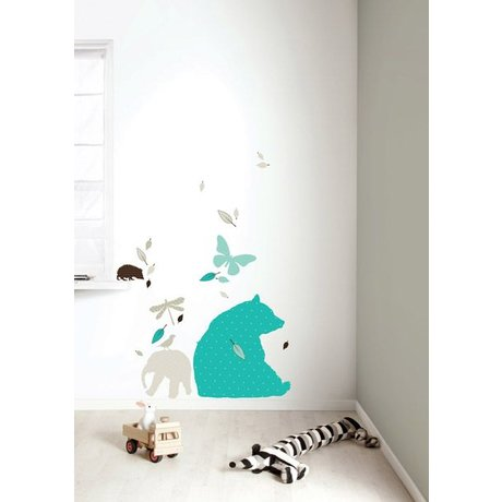 Kek Amsterdam Wall Sticker Set 'Bear XL BOYS' vinyl, blue / brown