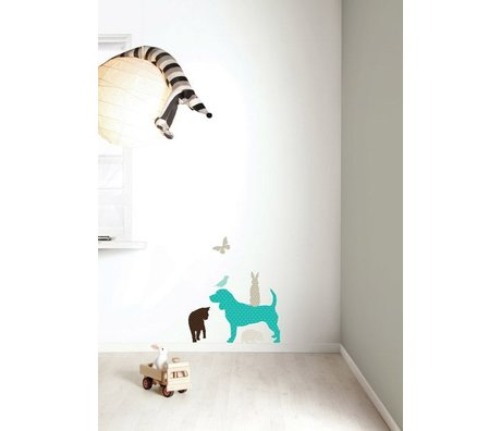Kek Amsterdam De vinilo etiqueta de la pared Set 'Perro MUCHACHOS', azul / marrón
