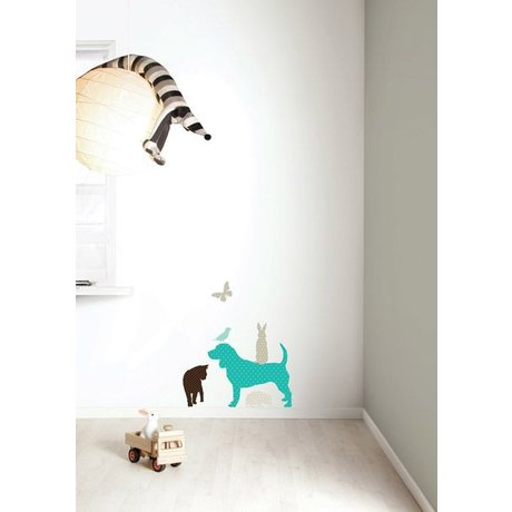 Kek Amsterdam Wall Sticker Set 'Dog BOYS' vinyl, blue / brown