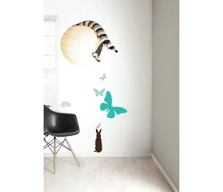 Kek Amsterdam Vinile Wall Sticker Set 'RAGAZZI Butterfly', blu / marrone