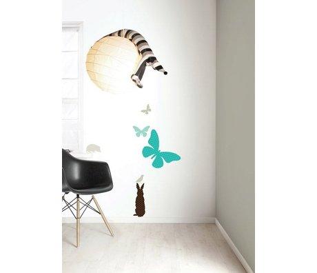 Kek Amsterdam Vinile Wall Sticker Set 'RAGAZZI Butterfly', blu / marrone