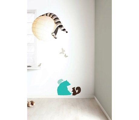 Kek Amsterdam Wall Sticker Set 'Bear BOYS' vinyl, blue / brown