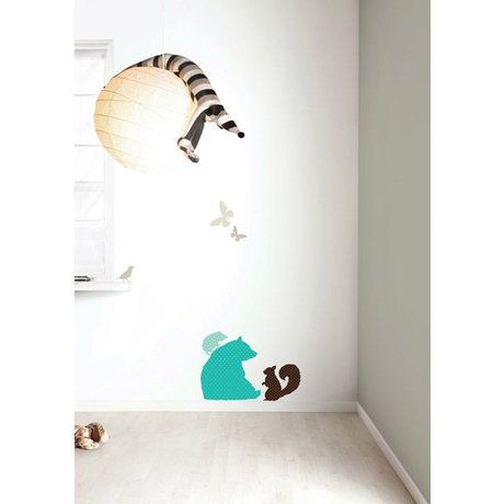Kek Amsterdam De vinilo etiqueta de la pared Set 'oso muchachos, azul / marrón