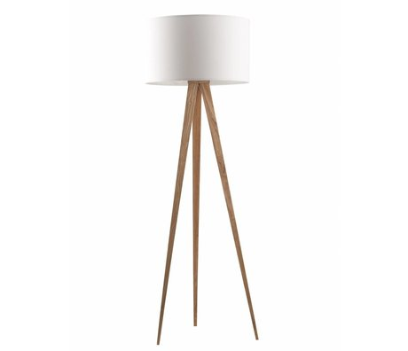 Zuiver Tripod floor lamp made of wood, natural / white, 151x50cm