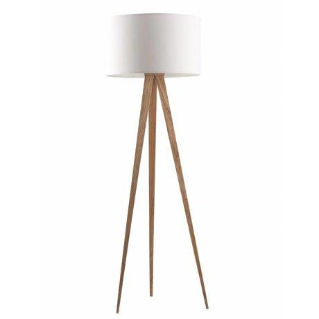 Zuiver Ahşap Tripod zemin lambası, beyaz / doğal, 151x50cm