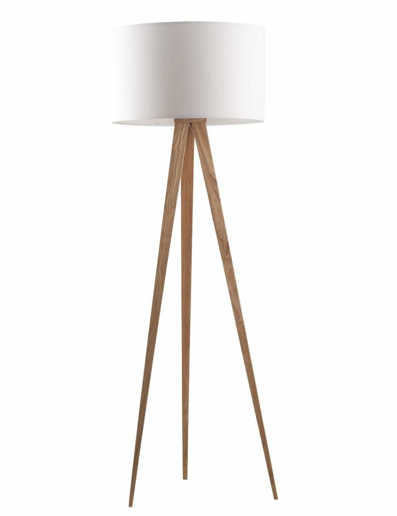 Zuiver Lampada da terra tripode in legno, naturale / bianco ...