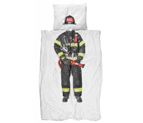 Snurk Beddengoed Lino 'pompiere' di cotone, bianco / multicolor, 140x200 cm