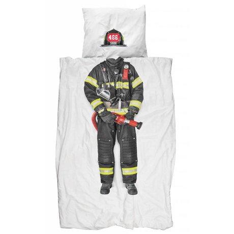 Snurk Ropa de 'bombero' de algodón, blanco / multicolor, 140x200 cm