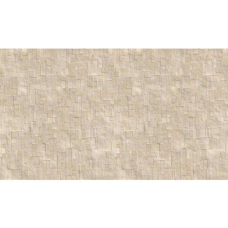 """NLXL-Arthur Slenk Wallpaper """"Remixed 1 'de papier, crème / blanc, 900x48.7cm"""