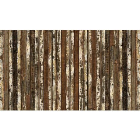 """Piet Hein Eek Scrapwood 13 papier Wallpaper """", marron / blanc, 900 x 48,7 cm"""
