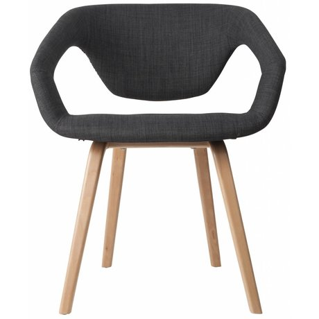 Zuiver Dining chair Flexback, natural / dark gray, 64x57x78cm