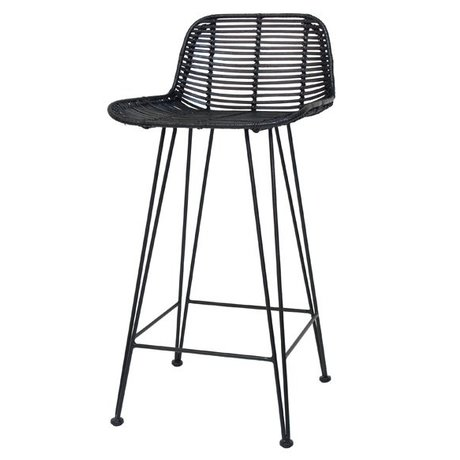 HK-living Barstool made of rattan, black, 88x47x46cm