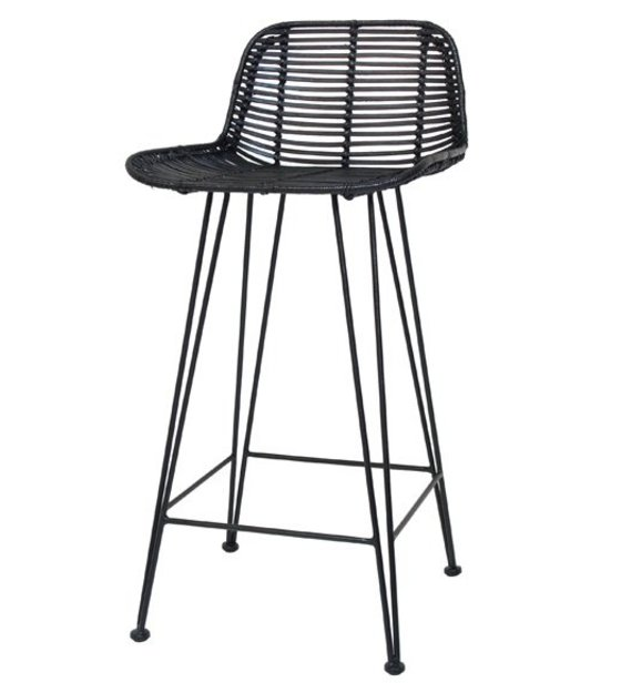hk living tabouret de bar en rotin noir 88x47x46cm. Black Bedroom Furniture Sets. Home Design Ideas