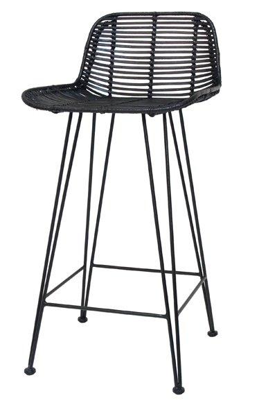 hk living barhocker aus rattan schwarz 88x47x46cm. Black Bedroom Furniture Sets. Home Design Ideas