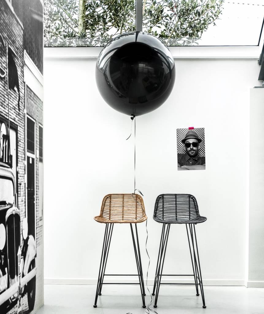 HK-living Taburete de ratán, negro, 88x47x46cm - lefliving.com