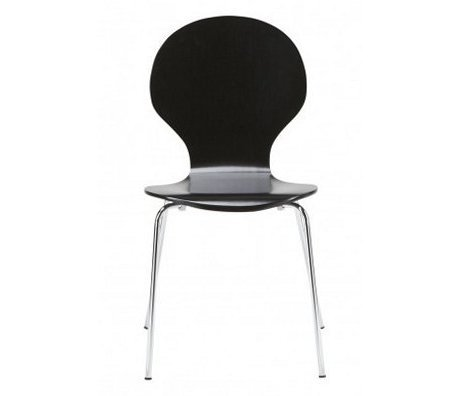 "LEF collections Dining room chair ""Atlanta"" in the set of 4, silver / black, 87x44x47cm"