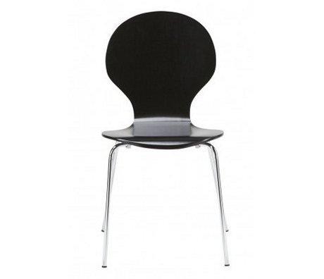 """LEF collections Spisestue stol """"Atlanta"""" i sæt af 4, sølv / sort, 87x44x47cm"""
