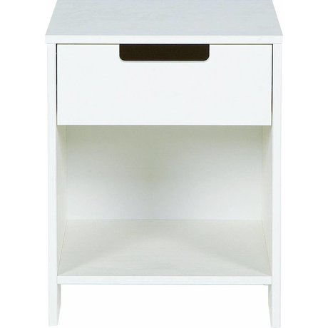 LEF collections Table de chevet 'Jade' de pin, blanc, 52x40x33cm
