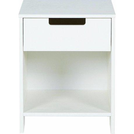 LEF collections Table de chevet 'Jade' de pin, blanc, 52x40x33cm