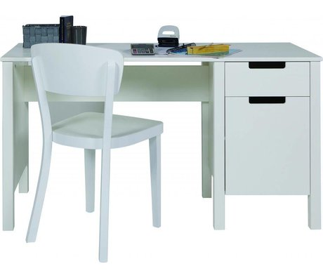 LEF collections Desk 'Jade' di pino, bianco, 75x140x60cm