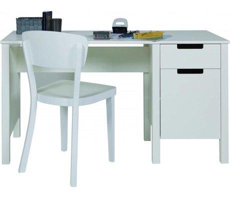 LEF collections Escritorio 'Jade' de pino, blanco, 75x140x60cm