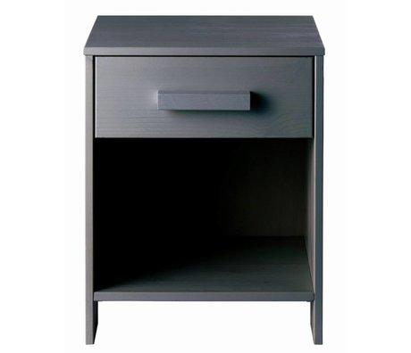 LEF collections Mesita de noche de pino DENNIS, gris acero, 40x34x52cm