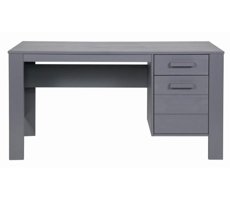 LEF collections DENNIS desk made of pine, steel gray, 140x59x74cm