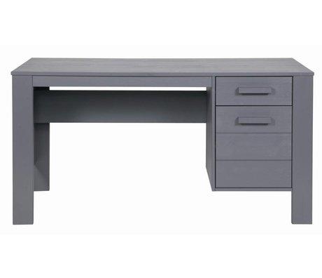 LEF collections DENNIS skrivebord lavet af fyrretræ, stålgrå, 140x59x74cm
