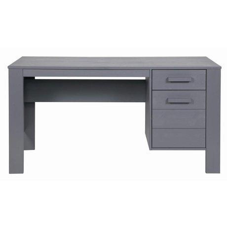 LEF collections DENNIS escritorio de madera de pino, gris acero, 140x59x74cm