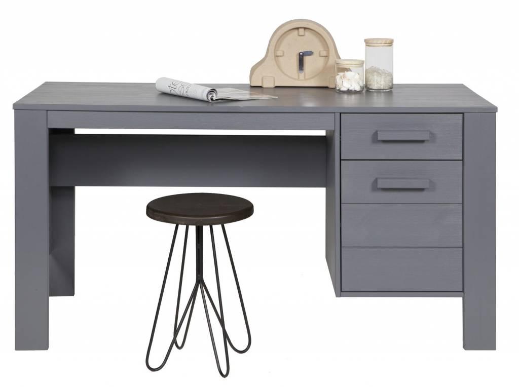 dennis bureau en bois de pin acier gris 140x59x74cm. Black Bedroom Furniture Sets. Home Design Ideas