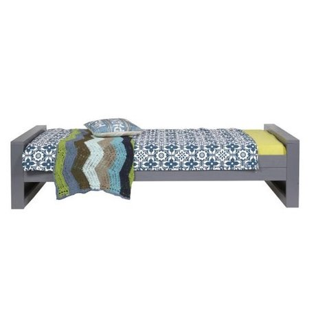 LEF collections One-persons bed 'Dennis' pine, steel gray, 90x200cm