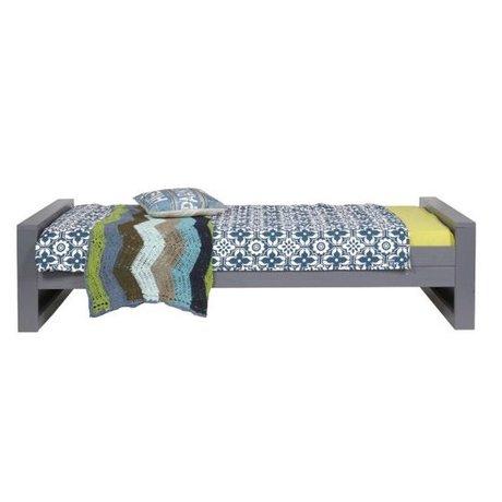 LEF collections Uno-personas cama 'Dennis' pino, gris acero, 90x200cm