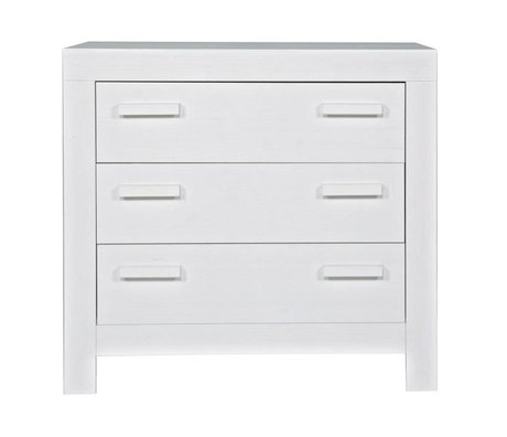 LEF collections Chest of drawers 'New life' from brushed pine, white, 95x52x91cm