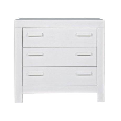 """LEF collections Kommode 'Nyt liv """"fra børstet fyrretræ, hvid, 95x52x91cm"""