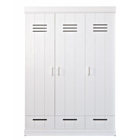 LEF collections Wardrobe 'Connect' with 3 doors and drawers made of pine, white, 195X140X53cm