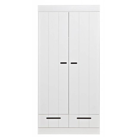 LEF collections Wardrobe 'Connect' with 2 doors and drawers made of pine, white, 195X94X53cm