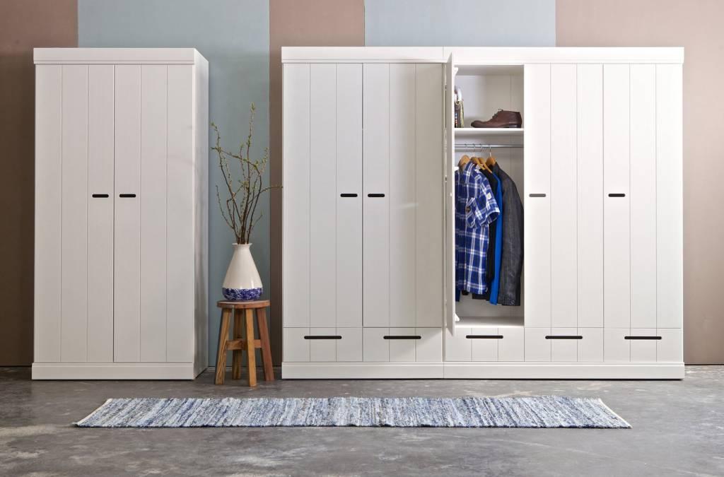 lef collections kleiderschrank 39 connect 39 mit 2 t ren und schubladen aus kiefer wei. Black Bedroom Furniture Sets. Home Design Ideas